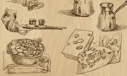 Rycina na desce obrazująca historię serów